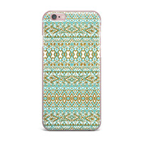 "Pom Graphic Design ""Mint & Gold Tribals"" Teal Brown iPhone Case"
