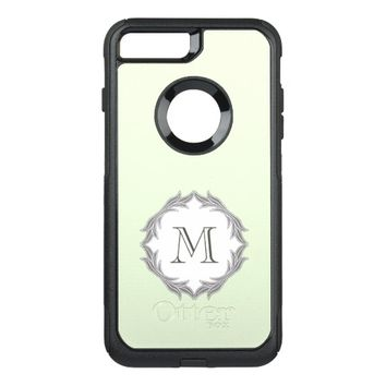 Monogram Floral Leaves Pattern Frame Light Green OtterBox Commuter iPhone 7 Plus Case