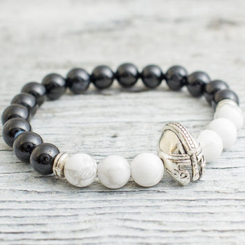 Black onyx and white howlite stone beaded silver Spartan helmet stretchy bracelet, yoga bracelet, mens bracelet, womens bracelet