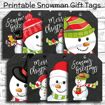 PRINTABLE Snowman Gift Tags, Christmas Gift Tags, Snowman Tags, Chalkboard Gift Tags, Winter Gift Tags, Holiday Gift Tags, INSTANT DOWNLOAD
