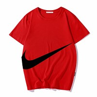 NIKE Fashion New Summer Big Hook Print Women Men Top T-Shirt Red