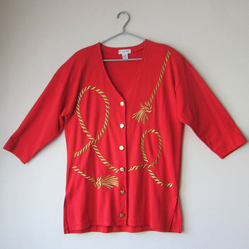80s Red Nautical Gold Rope Slouchy Button Up Cardigan // Preppy Yacht Club Resort Wear