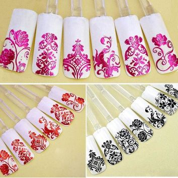 DCK9M2 Top Nail 108 Design Gold Foil Flowers Stickers For Nails 6 Color Metal Bronzing Decal 3D Nail Art Sticker Tips Decorations JH125