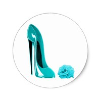 Turquoise Stiletto Shoe and Rose Classic Round Sticker