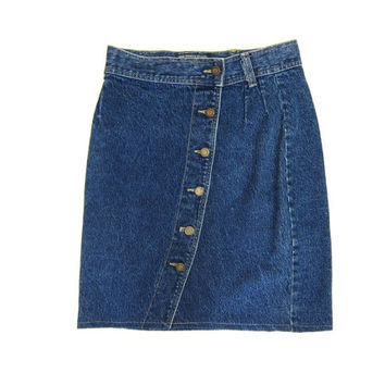 80s Jean Skirt High Waist Dark Blue Denim Mini Skirt 1980s Dells BUTTON FRONT Miniskirt Grunge Boho Pencil Skirt Womens Vintage Medium