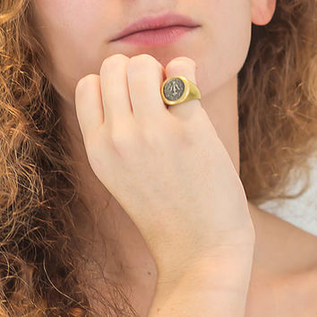 18k gold pinky ring, Ancient silver coin,  Ancient roman gold coin ring, Signet ring, Coin seal ring,18k gold coin ring,Womem signet ring
