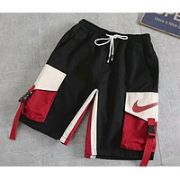 NIKE retro stitching contrast color overalls summer loose beach pants five pants F-AG-CLWM black