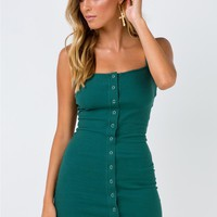 Gisele Ribbed Mini Dress Forest Green