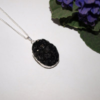 Black necklace Druzy pendant Gemstone boho necklace Crystal necklace Silver stone necklace for women Black and silver necklace Gift for girl