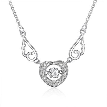 S925 Silver Necklace Heart Shaped Wings Necklace