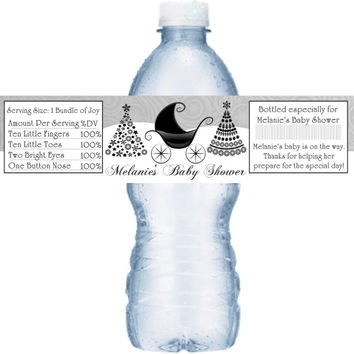 Black and Silver Christmas Themed Baby Shower Personalized Water Bottle Labels