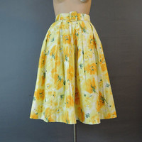 1960s Floral Cotton Full Skirt with Crinoline, 26 waist, Vintage 60s Yellow Skirt