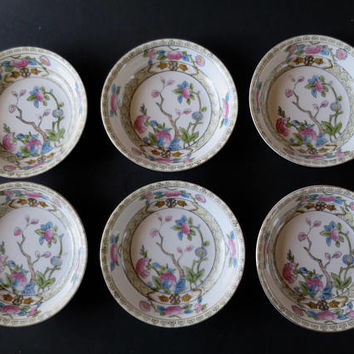 6 Noritake Dessert Bowls Indian Tree Inwood Pattern Fine Porcelain Berry Bowl Set Marked Field China Japan Made for Noritake 5 1/4 in Bowls