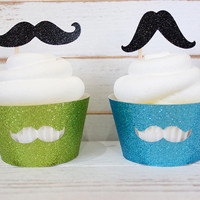 Little Man Mustache Cupcake Wrappers - Set of 6