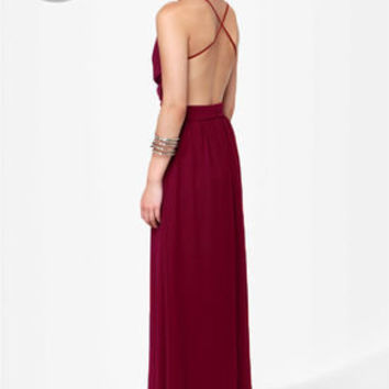 LULUS Exclusive Rooftop Garden Backless Burgundy Maxi Dress