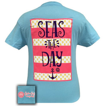 Girlie Girl Southern Originals Seas the Day Anchor Sky Blue T-Shirt