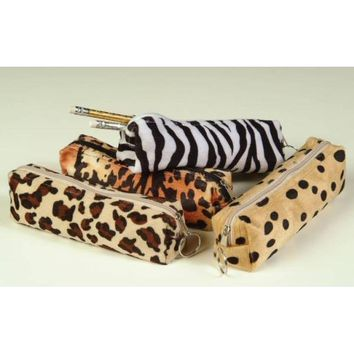 Animal Print Pencil Pouch Case Pack 12