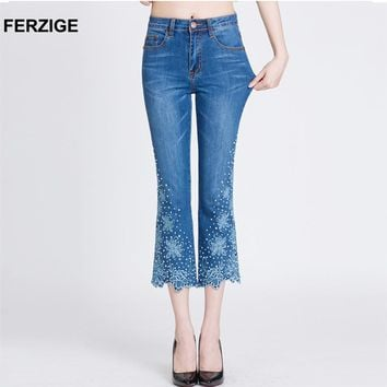 FERZIGE Women Jeans Embroidered Flares Bell Bottoms Stretch High Waist Slim Fit Rhinestones Casual Ladies Ankle Length Pants 36
