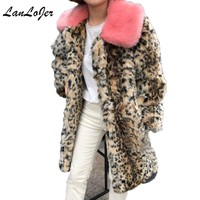 Women Faux Leopard Fox fur Coat Mink Fur Bomber Long Hair Pink fur Collar Long Jacket Streetwear imitation Fur Trench Cardigan