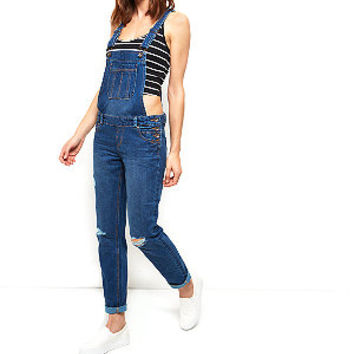 Navy Ripped Knee Denim Dungarees