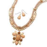 Tan Satin Cord and Acrylic Fashion Necklace and Earring Set