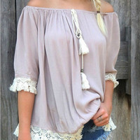 Off Shoulder Loose Chiffon Shirt With Lace