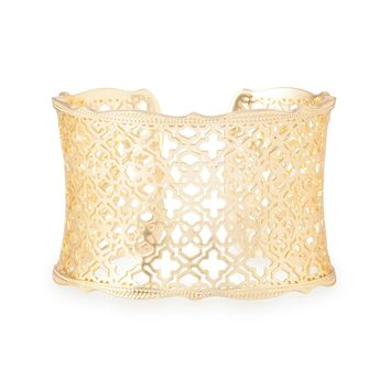 Kendra Scott Candice Yellow Gold Filigree Cuff Bracelet
