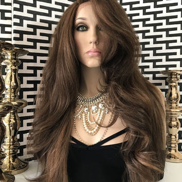 """Brown Auburn Highlights Thick Hair Lace Front Wig 28"""" 109"""