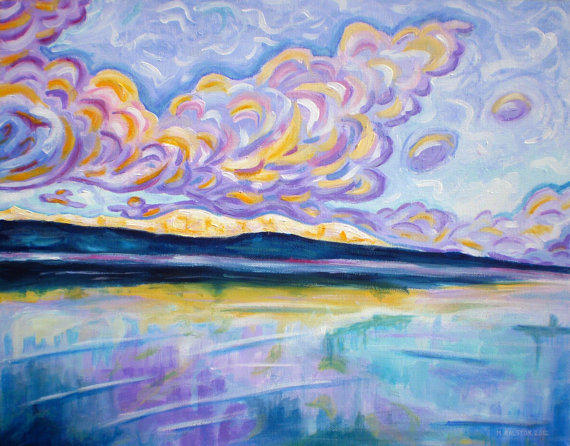 """ORIGINAL acrylic painting on stretched canvas - Sunrise On The Comox Glacier - 14"""" x 18"""""""