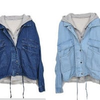 L 073003S Detachable hooded casual jacket denim, two pieces