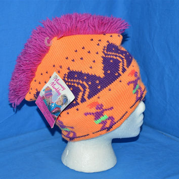 90s Neon Wool Mohawk Bobble Winter Hat Youth