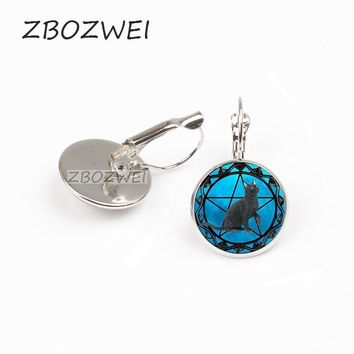 ZBOZWEI 2018 Black Cat earring for women wiccan earring collar Wicca earring blue Glass pendant cristal colgante Wicca collar