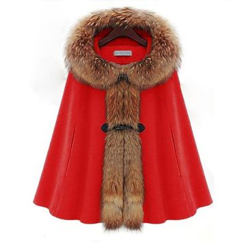 Womens Capes And Ponchoes 2016 New Autumn Winter Long Wool Coat Women Raccoon Hooded Fur Poncho Manteau Femme Cloak PON229