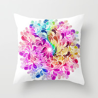 Rainbow Watercolor Paisley Floral Throw Pillow by Micklyn