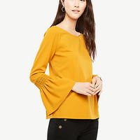 Smocked Flare Cuff Top | Ann Taylor