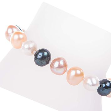 Single Strand Multi-color Cultured Freshwater Pearl Bracelet 9-10mm