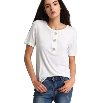 Major Suit Summer Women Casual Shirt Fashion Tops Tees Cotton Spandex Button T-shirts O-Neck Loose Elastic Short Sleeve T-shirt