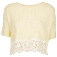 Knitted Lace Hem Crop Jumper - New In This Week  - New In