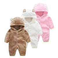 Girl baby winter clothing 2017 flannel newborn baby boy dress animal Onesuit jumpsuit baby pink girls one piece infant clothes