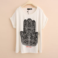 Hand Of Buddha Print T-shirts
