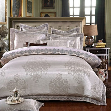 4/6 Pcs White Color Jacquard Luxury Bedding sets Queen/King size Boho lace Stain Bed set 4/6 Pcs Cotton Bed linen Duvet cover