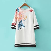 Summer Stylish Round-neck Print Three-quarter Sleeve Skirt One Piece Dress [4917814276]