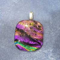 Bright Colorful Pendant, Pink, Orange, Black, Green, Gold, Fused Glass Pendant, Slide Jewelry - Suzette - -5