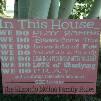 Personalized Wooden Family House Rules Sign large 16x20""