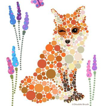 Fox Graphic Design Home Decor Print Colorful Circles Dots Bubbles - Shipping Included