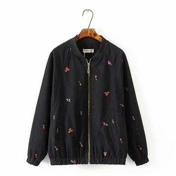 Trendy Plus size black & light green mandarin collar cotton women basic coats 2018 spring autumn Embroidered bomber jacket women 5XL AT_94_13