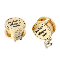 Steel My Heart Belongs To Music Dangle Spool Plug 2 Pack