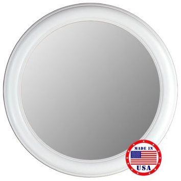 Hitchcock Butterfield Floral Glossy White Round Framed Wall Mirror