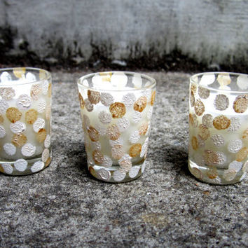 Gold and White Dot Votive Candle Holders For Wedding by MullaneInk