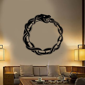 Vinyl Wall Decal Ouroboros Snake Dragon Ancient Infinity Symbol Stickers (2787ig)